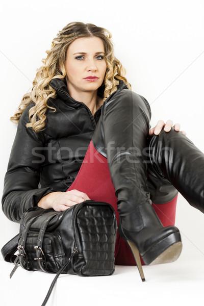 肖像 座って 女性 着用 ファッショナブル 服 ストックフォト © phbcz