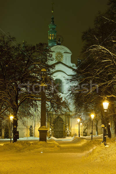 Kerk onderstelling Praag Tsjechische Republiek sneeuw gebouwen Stockfoto © phbcz