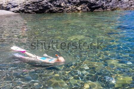 little girl snorkeling in Mediterranean Sea, France Stock photo © phbcz