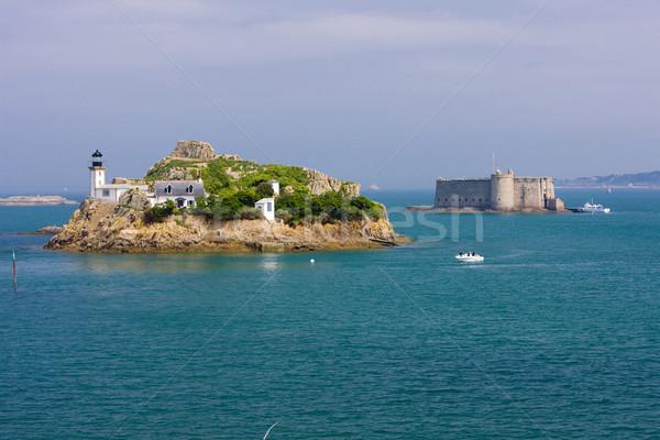 lighthouse and Chateau du Taureau, Pointe de Pen al Lann, Britta Stock photo © phbcz
