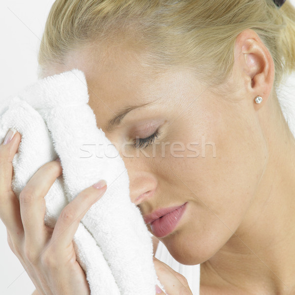 Foto stock: Mulher · toalha · beleza · faces · jovem · sozinho