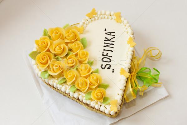 Stockfoto: Verjaardagstaart · voedsel · verjaardag · witte · dessert · zoete