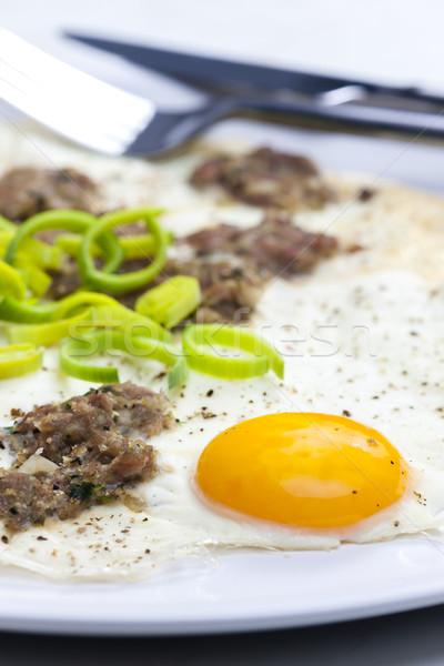 Tányér hús villa étel táplálkozás bent Stock fotó © phbcz