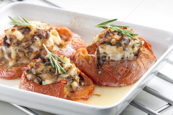 Stockfoto: Gebakken · tomaten · kip · vlees · champignons · plaat