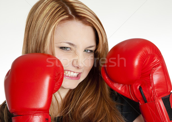 portrait of woman with boxing gloves Stock photo © phbcz