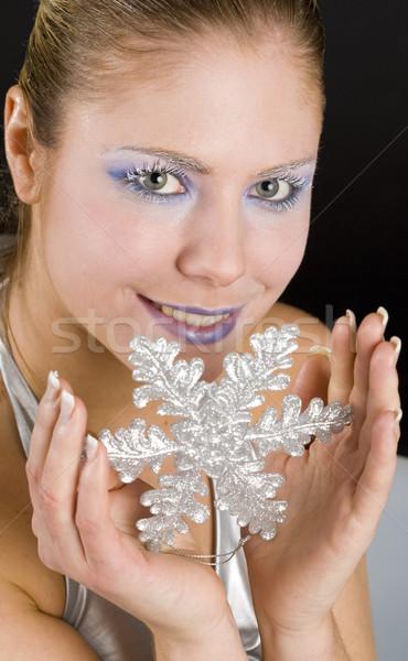 портрет женщину снежинка стороны красоту молодые Сток-фото © phbcz
