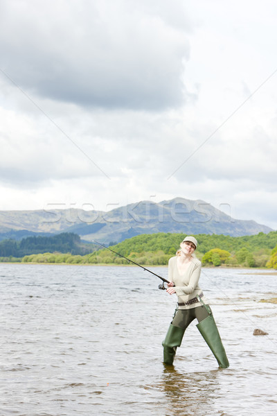 fishing woman, Loch Venachar, Trossachs, Scotland Stock photo © phbcz