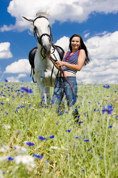 Konia łące kobieta lata dżinsy Zdjęcia stock © phbcz