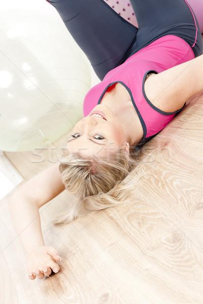 Stockfoto: Jonge · vrouw · gymnasium · vrouw · sport · fitness · gezondheid