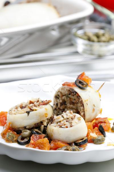 Sépia tomates azeitonas pretas pérola bar Foto stock © phbcz