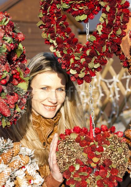 Retrato mulher natal mercado Viena Áustria Foto stock © phbcz