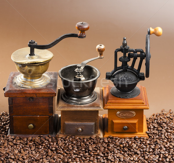 coffee mills with coffee beans Stock photo © phbcz