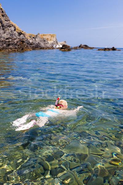 Kislány snorkeling mediterrán tenger Franciaország lány Stock fotó © phbcz