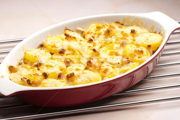 baked cream potatoes with bacon Stock photo © phbcz