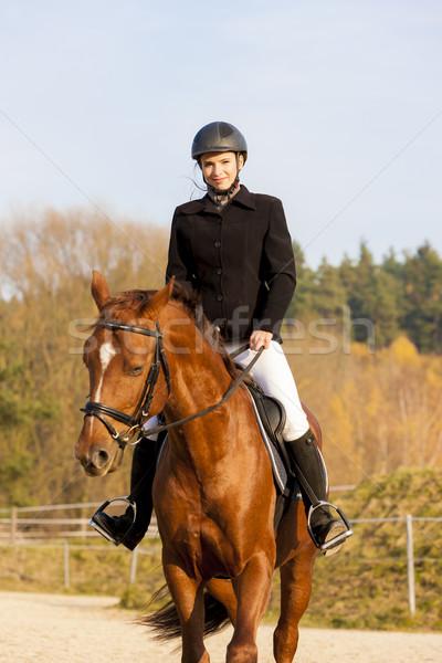Lovas lóháton nő nők ló pihen Stock fotó © phbcz