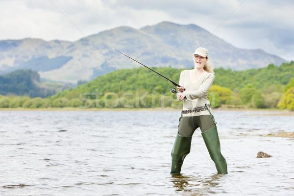 fishing woman, Loch Venachar, Trossachs, Scotland Stock photo © phbcz