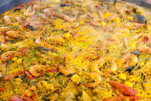 paella with seafood, market in Forcalquier, Provence, France Stock photo © phbcz