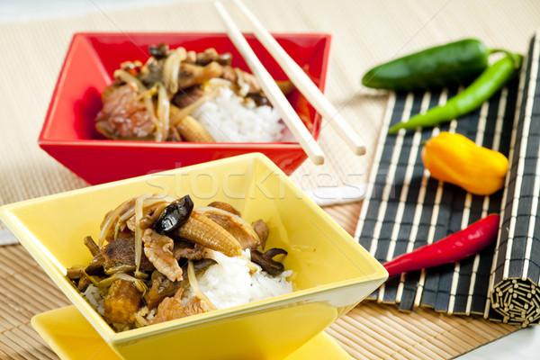 Baromfi hús kukorica gombák tányér étel Stock fotó © phbcz