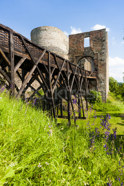 Ruinas castillo República Checa edificio viaje arquitectura Foto stock © phbcz