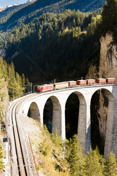 train on Rhaetian Railway, Landwasserviadukt, canton Graubunden, Stock photo © phbcz