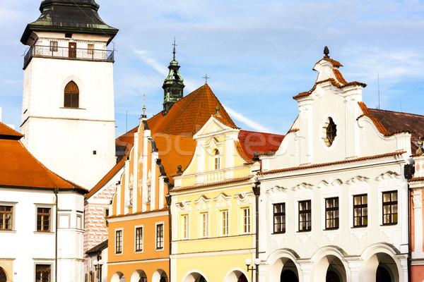 Tér Csehország ház templom építészet Európa Stock fotó © phbcz