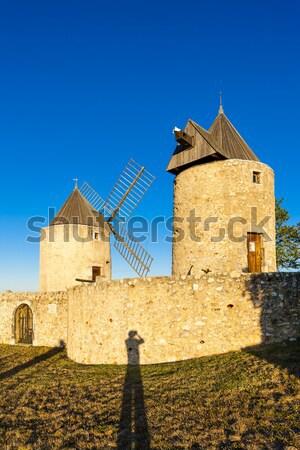 Franciaország utazás építészet Európa szélmalom kint Stock fotó © phbcz