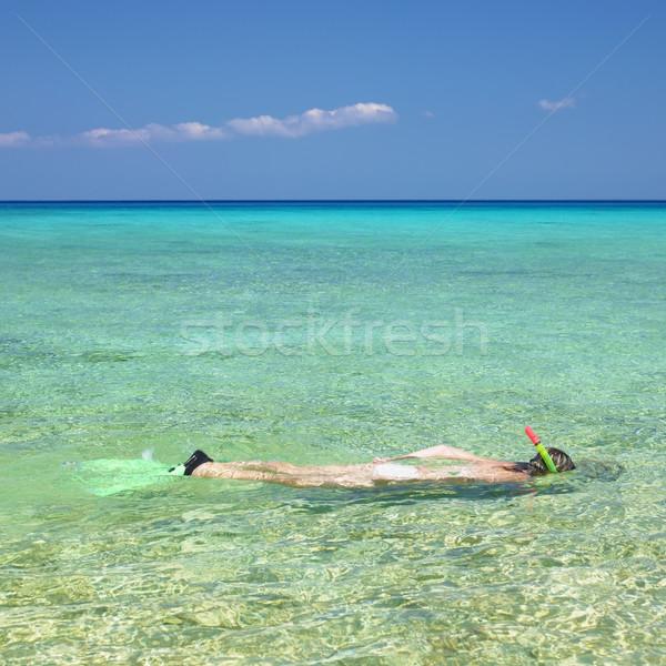 Snorkeling kobieta morza sportowe sam kobiet Zdjęcia stock © phbcz