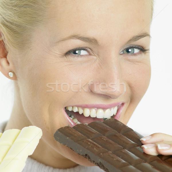 Zdjęcia stock: Kobieta · czekolady · twarze · młodych · sam · młodzieży