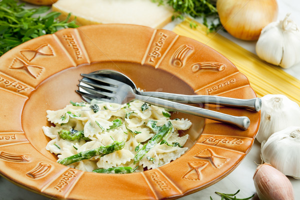 pasta farfalle with asparagus and rosemary Stock photo © phbcz