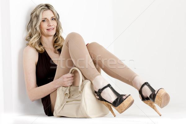 ül nő visel nyár ruházat cipők Stock fotó © phbcz