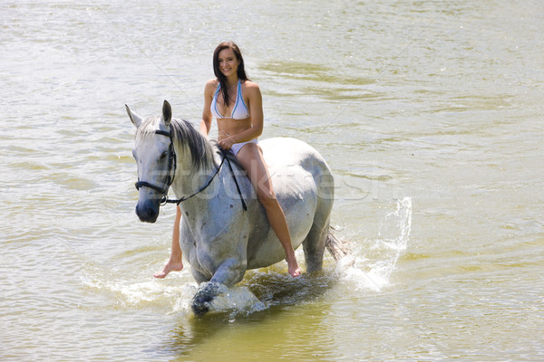 Stock fotó: Lovas · lovaglás · víz · nő · ló · bikini