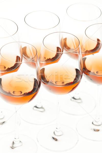 Borospoharak rózsa bor alkohol borospohár tárgy Stock fotó © phbcz