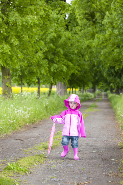 little girl wearing rubber boots with ubrella in spring alley Stock photo © phbcz