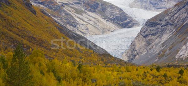 Gleccser park Norvégia hegyek ősz Európa Stock fotó © phbcz