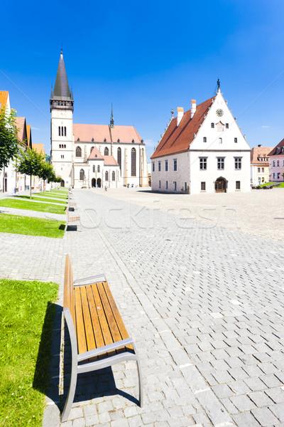 Prefeitura praça Eslováquia casa cidade igreja Foto stock © phbcz