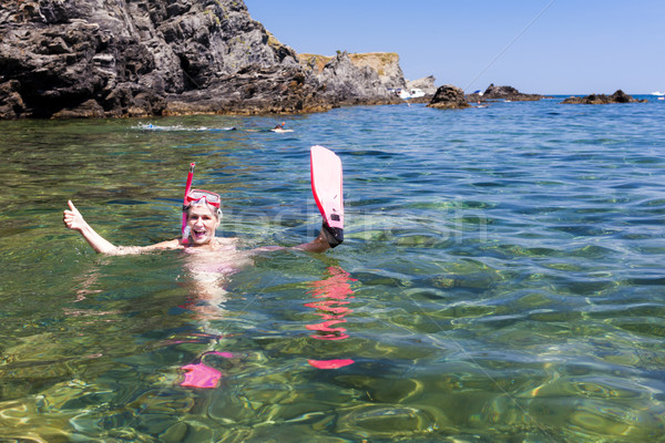 Snorkeling morze Śródziemne morza Francja kobieta lata Zdjęcia stock © phbcz