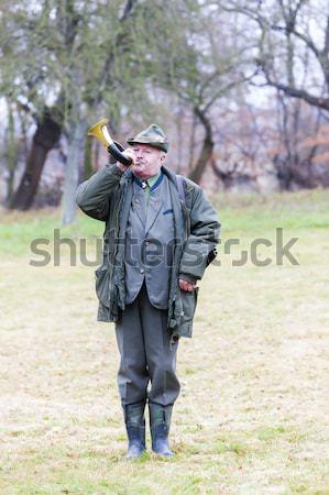 Jager man mannen baan hoed mannelijke Stockfoto © phbcz