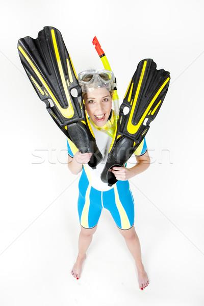 Stałego młoda kobieta snorkeling wyposażenie kobieta Zdjęcia stock © phbcz