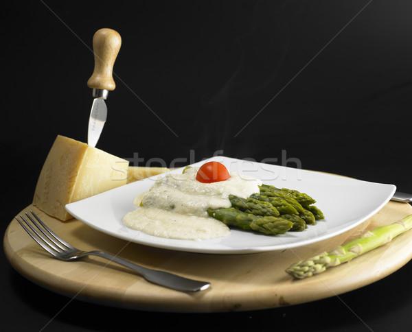 Verde parmesão molho comida queijo faca Foto stock © phbcz
