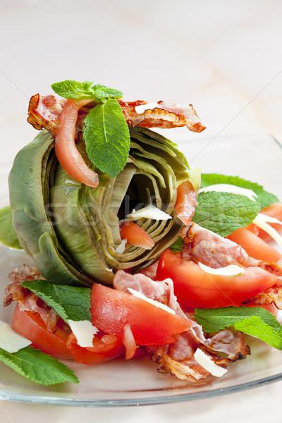 Pişmiş domates parmesan peyniri plaka sebze sebze Stok fotoğraf © phbcz