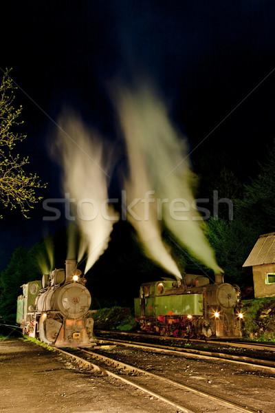 Stoom nacht reizen buitenshuis vervoer en Stockfoto © phbcz