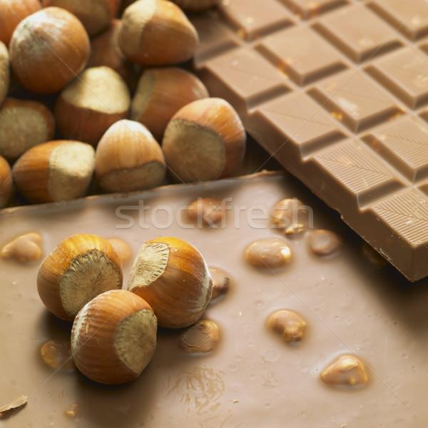 Csokoládé rácsok mogyoró eszik édesség diók Stock fotó © phbcz