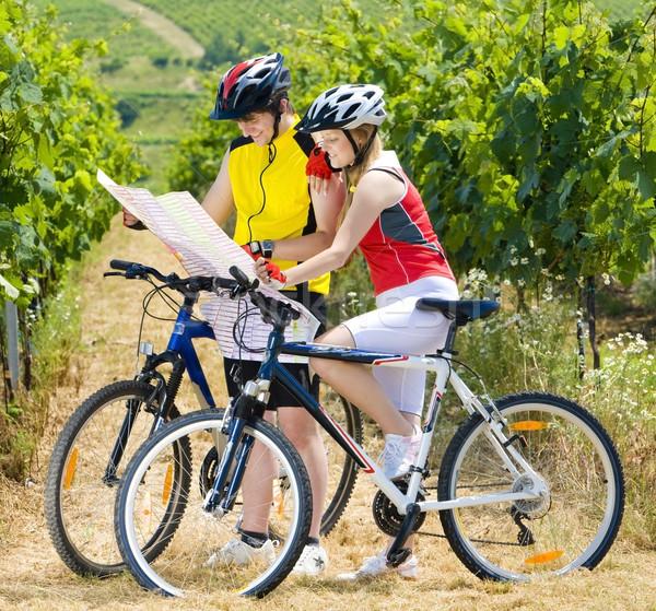 bikers holding a map in vineyard, Czech Republic Stock photo © phbcz