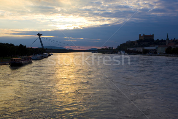 Bratislava castle with New Bridge over Danube River, Slovakia Stock photo © phbcz
