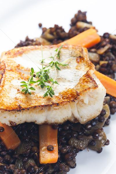 Filé cenoura peixe prato vegetal Foto stock © phbcz