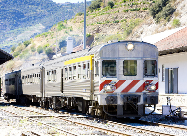 train at railway station of Tua, Douro Valley, Portugal Stock photo © phbcz