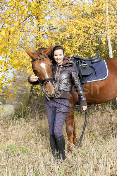 Lovas ló őszi legelő nők fiatal Stock fotó © phbcz