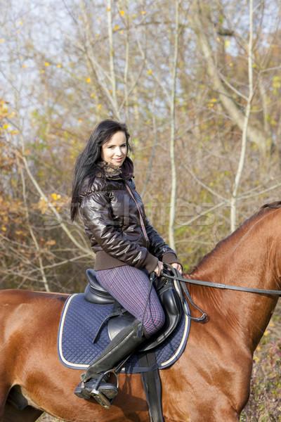 верхом женщины лошади портрет осень Сток-фото © phbcz