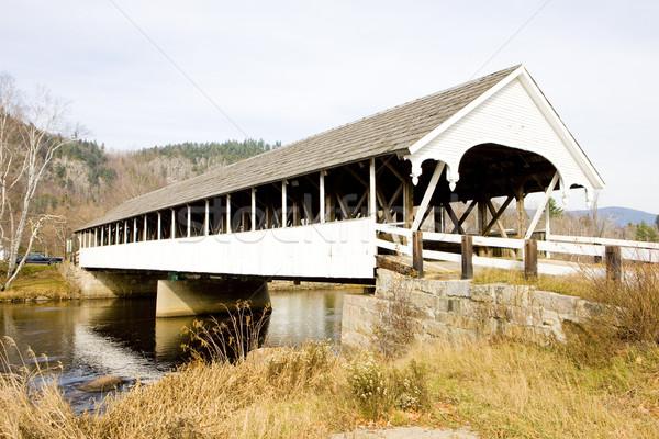 Bedeckt Brücke New Hampshire USA Gebäude Fluss Stock foto © phbcz
