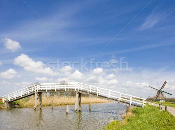 Brug windmolen Nederland reizen bruggen molen Stockfoto © phbcz